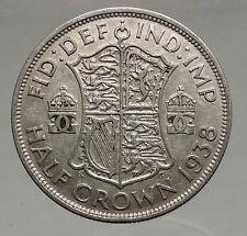 1938 United Kingdom of Great Britain GEORGE VI Half Crown Silver Coin i56651