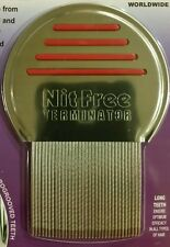 #1 real Nit Free Brand Terminator Comb Rid Head Lice Stainless Steel long spiral