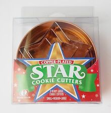 Copper Star Cookie Cutters Set Plated Heavy Guage Tin In Box NEW