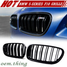 Painted Glossy Black BMW 5-Series F10 F11 Front Grille Grill Kidney 2016 M5 528i