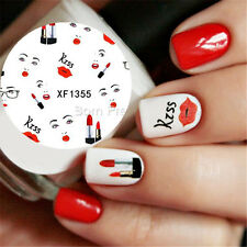 Nail Art Water Decals Transfer Stickers Red Lip Fashion Girl Lipstick Manicure