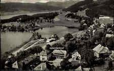Schluchsee Schwarzwald mit Pension Post ~1950/60 Vogelschau-Perspektive s/w AK