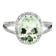14K WHITE GOLD PAVE DIAMOND GREEN AMETHYST COCKTAIL ENGAGEMENT HALO RING