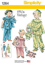 Simplicity Pattern 1264 Vintage Style Children's Pajamas and Stuffed Bunny
