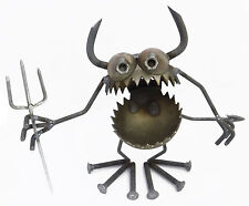 Sugarpost Gnome Be Gone Dirt Devil w/ Horns & Tail Welded Metal Art Made in USA