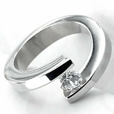 TITANIUM Bypass Tension Solitaire RING with Round CZ in size 9 - in Gift Box