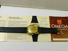 1970s LARGE GENTS GOLD PLATED OMEGA GENEVE MEGAQUARTZ 32KHZ EXCELLENT CONDITION