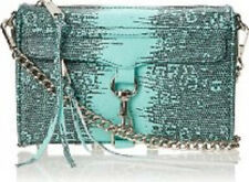 NWT Rebecca Minkoff Lizard Embossed Minty Leather Mini MAC Crossbody Clutch