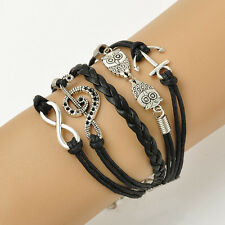 Jewelry Fashion Leather Cute Infinity Owl Anchor Note Wristband Bracelet 17-22CM