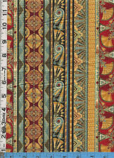Fabric Kaufman VALLEY OF the KINGS EGYPTIAN  STRIPE LOTUS Jewel BTHY