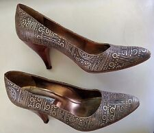 GIANNI BARBATO Copper Black Italy Egyptian Pumps Shoes Heels Size 40 US 10M
