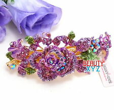 Purple Rhinestone Crystal Gold Tone Metal flower hair claw clip Barrette #2786