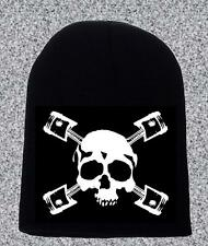 SKULL AND PISTONS BEANIE HAT BIKERS GIFT