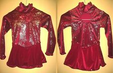 NEW Ice Figure Skating Dress Red velour with fireworks design Girl 6 yrs