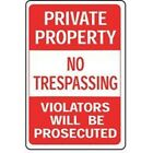 NEW HY-KO HW-45 ALUMINUM 12 X 18 PRIVATE PROPERTY NO TRESPASSING HIGHWAY SIGN