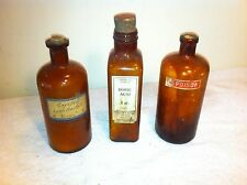Vintage lot 3pc apothecary RX Brown glass bottle boric acid poison Halloween Dec