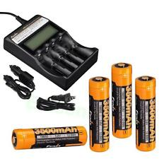 4 X Fenix ARB-L18-3500 rechargeable 3500mAh Li-ion 18650 Batteries ARE-C2 Chrgr