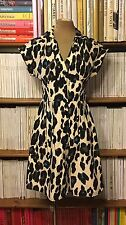 NANETTE LEPORE 100% silk leopard print fit flare fitted shirt dress US2 UK6