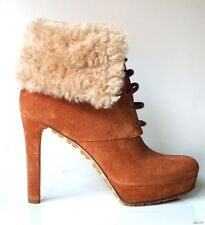 new $1190 GUCCI brown suede logo shearling lamb cuff ANKLE BOOTS 41.5 11.5 -sexy
