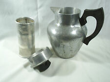 Vintage Super Maid Cookware Tea Pot And Diffuser Wood Handles Aluminum Coffee