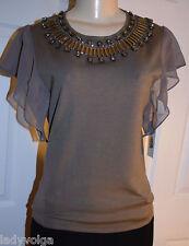 W by WORTH Solid Khaki Beige Beaded Chiffon Sleeve Silk Knit Top size M $298 NWT