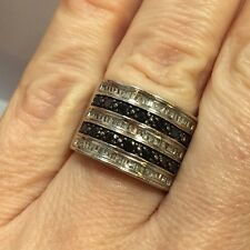 Wide Sterling Silver 1 Ct Black Diamond Pave Cocktail Cigar Wedding Band Ring 7