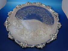 Vintage Large Silver Plated Round Serving Tray with Engraved Center Scroll