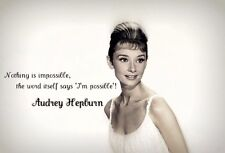 AUDREY HEPBURN - QUOTE Wall Art Large Canvas Picture 20 x 30 inch