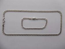 SOLID 925 STERLING SILVER ANCHOR / MARINER SET CHAIN & BRACELET 46cm/19cm
