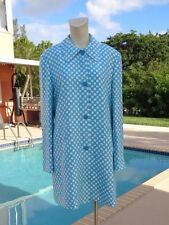 VERSUS by GIANNI VERSACE WHITE & BLUE CHECK SILK CASUAL COAT Sz 44 MADE IN ITALY