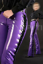 100% Latex Rubber Gummi Jeans Pants Trousers Tights Lacing Up Catsuit Unique