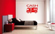 BOYS FIRE TRUCK PERSONALIZED NAME VINYL WALL  QUOTE LETTERING DECAL HOME DECOR