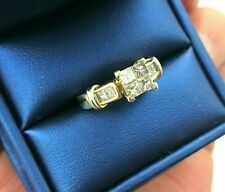 14k YELLOW GOLD DIAMOND PRINCESS CUT RING 1 CARAT TOTAL