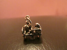 RARE VINTAGE SILVER BRACELET CHARM COUPLE ON LOVE SEAT