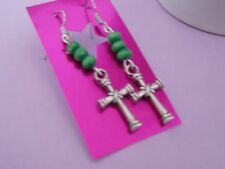 CELTIC CROSS charm & green wooden bead surgical steel hook dangle gift earrings