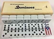 Dominos Deluxe Professional Size With Puerto Rico Flag Design--In Wooden Box.