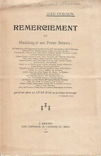 Document vieux papier  Louis Tiercelin remerciement 1912