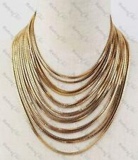 SLINKY DRAPE CHOKER NECKLACE gold pl LAYERED LIQUID CHAINS big STATEMENT collar