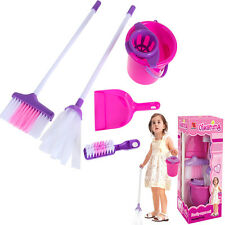 Deluxe Cleaning Play Set Children Kids Toddler Housekeeping Educational Toy Pink
