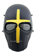 Wire Mesh Army Yellow Cross Full Face Protection Cosplay Airsoft Mask