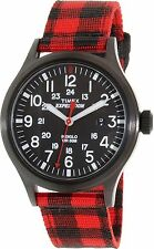 "Timex TW4B02000, ""Expedition"" Red Nylon Buffalo Check Watch, Scout, TW4B020009J"
