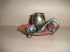 Rare Antique Meriden co silverplate Aesthetic chamberstick candle holder 136