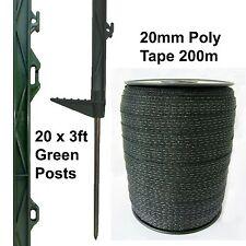 20 x 3 piedi POLY Pali & Nastro - 20mm 200m VERDE recinzione elettrificata Cavallo Pony 105cm