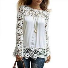 Womens Long Sleeve Shirt Casual Lace Loose Cotton Tops T Shirt Blouse UK 8-22
