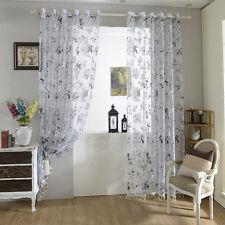 Schlaufenschal Gardinenschal Dekoschal Schwarz Weiß Blumen Fenster Vorhang Voile