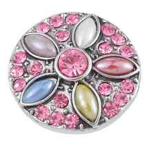 Multicolor Rhinestone Snaps Chunk Charm Button Fit  Leather Bracelets NEW