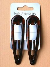 2 Large 9cm Tortoiseshell Brown Hair Sleepies Slides Bendies Snap Clips Grips