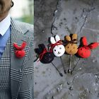 BytheR Men's Fashion Red Ivory Yellow Navy Pin Kawaii Accesory Bunny P000BFJC