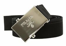 NEW PRADA MEN'S BLACK GRAY STRIP SAFFIANO LEATHER CANVAS LOGO BUCKLE BELT 100/40