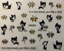 Nail Art 3D Decal Stickers Cat Very Cute Kitten Butterfly Yarn JH026